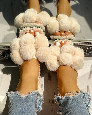 Villus Fluffy Casual Flat Sandals_12