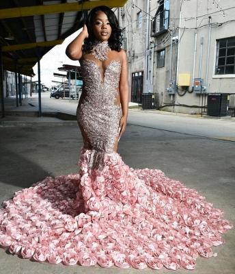 Halter 3D Floral Print Mermaid Sweep Train Pink Prom Dresses_2