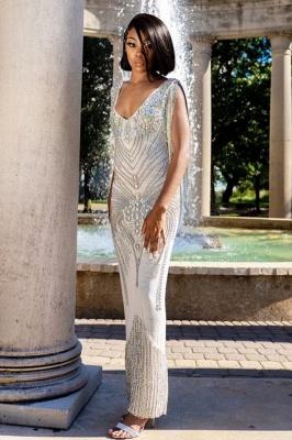 V-Neck Beading Slim Mermaid Prom Dress Tassel Sleeveless Evening wear_2