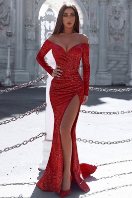 Burgundy Mermaid Prom Dresses Evening Gown with Sleeves_1