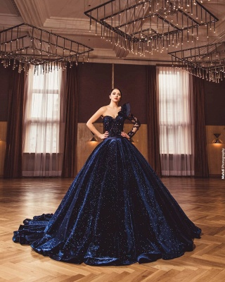 Gorgeous A Line Dark Purple Ball Gowns One Shoulder Prom Dresses_4