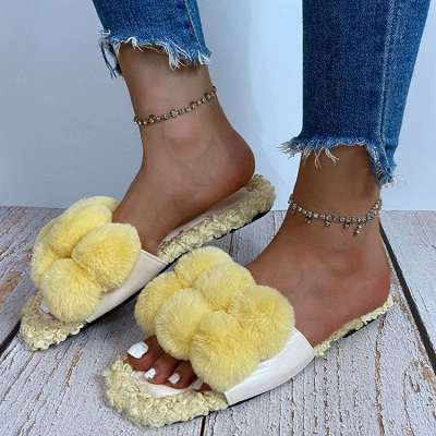 Villus Fluffy Casual Flat Sandals_3