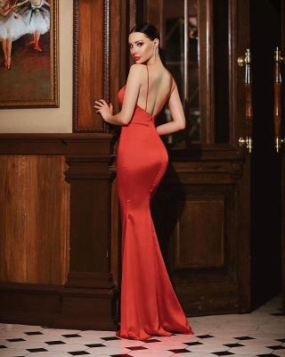 Cheap mermaid Long Sexy Red Evening Gowns Open Back_2