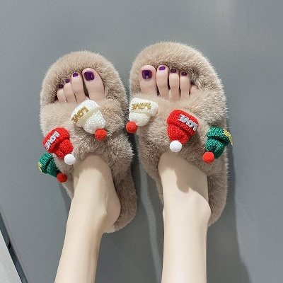 Christmas Pattern Cross Fluffy Slippers_9