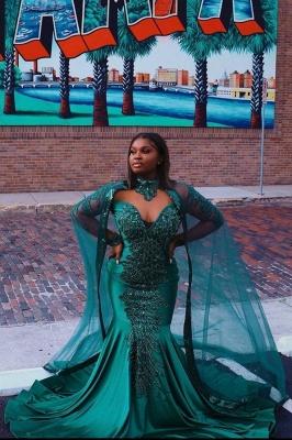 Glamorous Mermaid Prom Dresses Long Sleeve Floor Length Evening Gowns_2