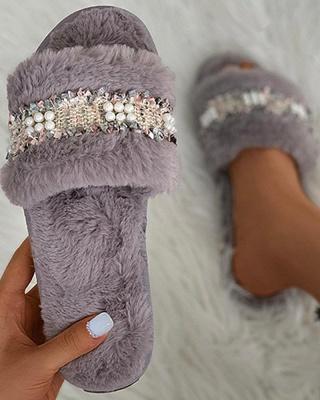 Fringe Beaded Fluffy Slippers_11