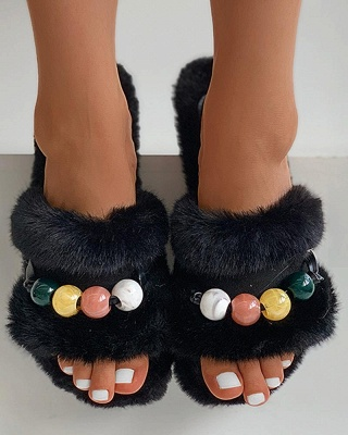 Colorblock Beaded Fluffy Slippers_6
