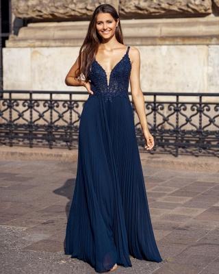 Modern Chiffon Lace Straps V-Neck Prom Dress with Ruffles_4