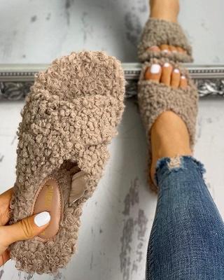 Solid Fluffy Crisscross Design Flat Sandals_11