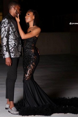 Black Sexy Mermaid Prom Dress Sweetheart Sequined Evening Dress_4