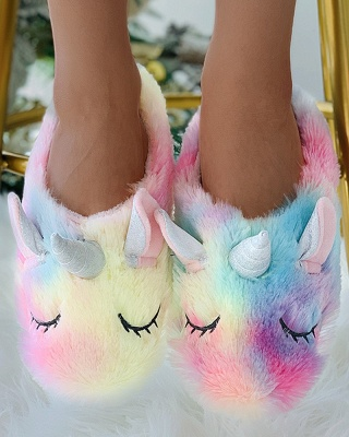 Unicorn Pattern Colorblock Fluffy Slippers_5