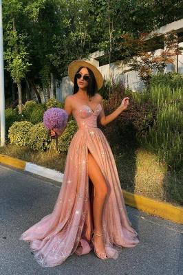 Sexy Sweetheart Side Split Evening Dress Sparkly Prom Dress_1