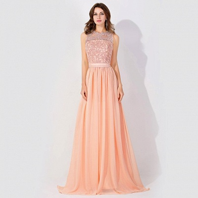 Cheap A-line Chiffon Tulle Lace Ruffles Bridesmaid Dress in Stock_1