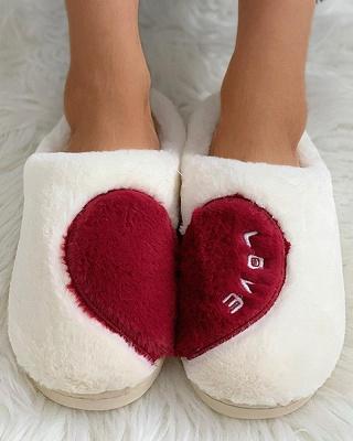 Heart Letter Pattern Fluffy Slippers_14
