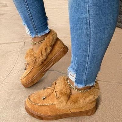 Fashion Daily Round Toe Fashion Warm Fur Flat boots On Sale On Sale_8
