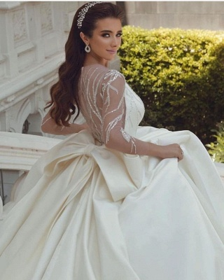 Ball Gown Satin Long Sleeves Lace Wedding Dress with Bow_5