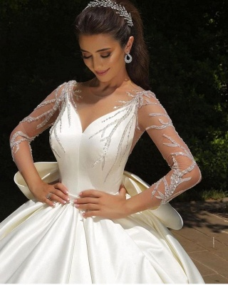 Ball Gown Satin Long Sleeves Lace Wedding Dress with Bow_2
