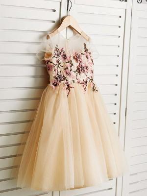 Cute Jewel Tulle Lace Satin Sleeveles Flower Girl Dress_3