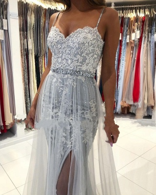 Sexy Sweetheart Lace Tulle Prom Dresse Split Mermaid Gowns_4