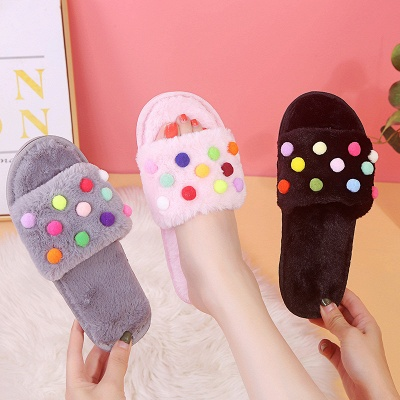 Pom Pom Colorblock Fluffy Slippersa_6