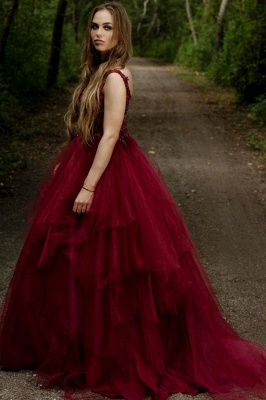 Elegant V-neck Burgundy Tulle Lace Prom Dress_3