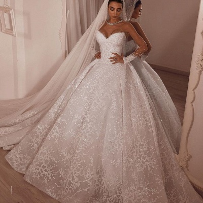Luxury Ball Gown Tulle Lace Long Sleeves Wedding Dress with Beadings_2