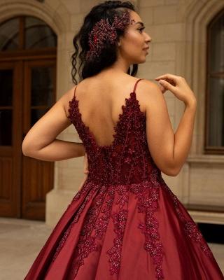 Elegant V-Neck Satin Lace Burgundy Wedding Dress_3