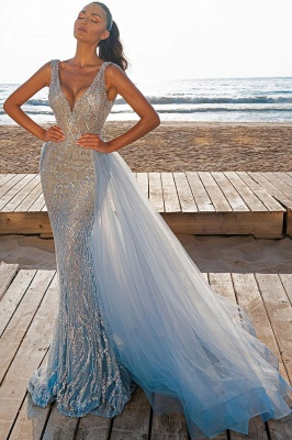 Elegant V-Neck Mermaid Prom Dresses with Detachable Train_2