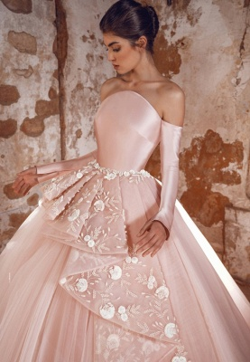 A-line Off-Shoulder Long Sleeves Tulle Lace Prom Dress with Flowers_2