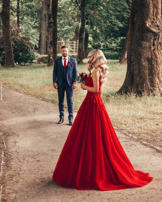 Cheap Red Lace Prom Dresses Jewel Floor Length Formal Gowns_6
