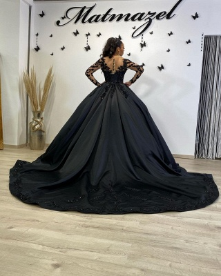 Cheap Black Lace Prom Dresses Ball Gowns Satin Evening Gowns_3
