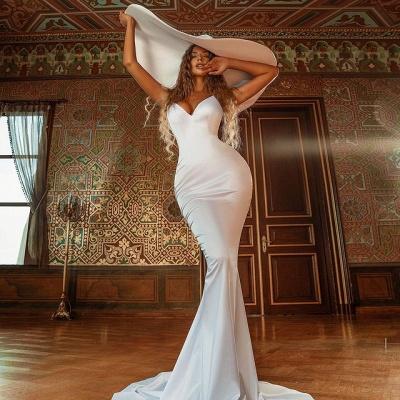 Simple Mermaid V-Neck Sleeveless Prom Dress_2