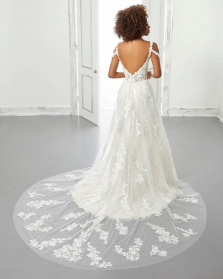 Chic A-line Tulle Lace Cold-Sleeves Wedding Dress with Train_2