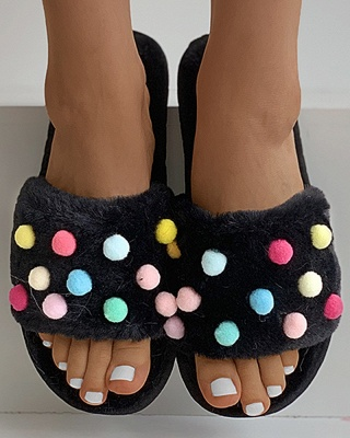 Pom Pom Colorblock Fluffy Slippersa_13
