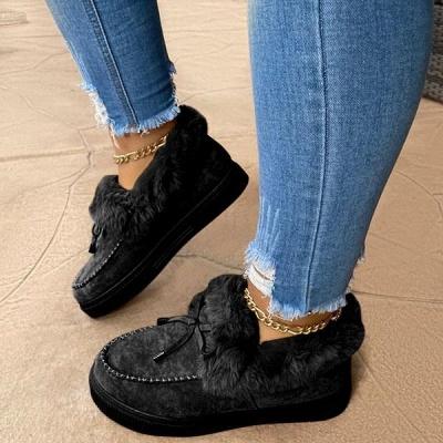 Fashion Daily Round Toe Fashion Warm Fur Flat boots On Sale On Sale_5