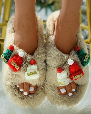Christmas Pattern Cross Fluffy Slippers_14