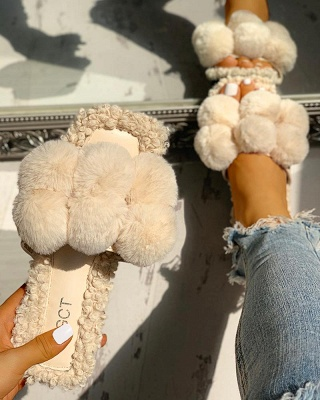 Villus Fluffy Casual Flat Sandals_10