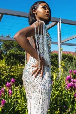 V-Neck Beading Slim Mermaid Prom Dress Tassel Sleeveless Evening wear_3