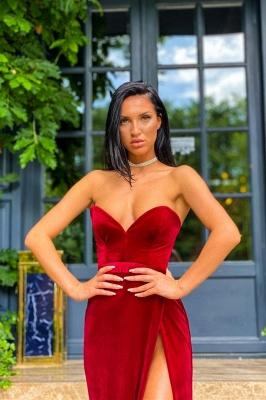 Velvet Sweetheart Side Split Evening Dress Sleeveless Prom Dress_1