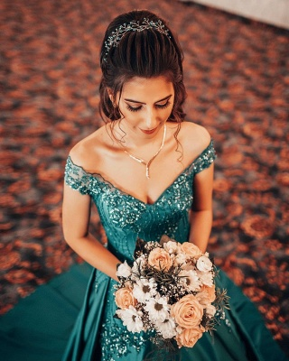 Gorgeous A Line Blue Off the Shoulder Lace Prom Dresses_3