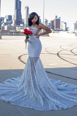 One Shoulder Appliques Slim Mermaid Evening Dress Sweet Train_1