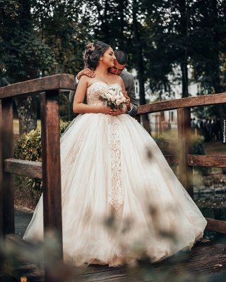 Wholesale Sweetheart Lace Tulle Ball Gowns Wedding Dresses_3