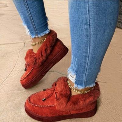 Fashion Daily Round Toe Fashion Warm Fur Flat boots On Sale On Sale_4