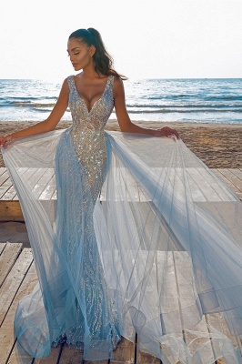 Elegant V-Neck Mermaid Prom Dresses with Detachable Train_4
