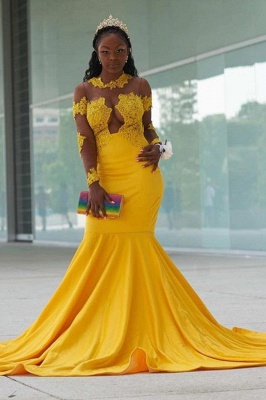 Yellow Long Sleeve Mermaid Prom Gowns Sweep Train Appliques_2