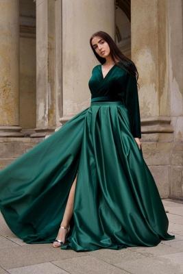 Chic V-neck Long Sleeves Satin Velvet Prom Dress with Slit_1