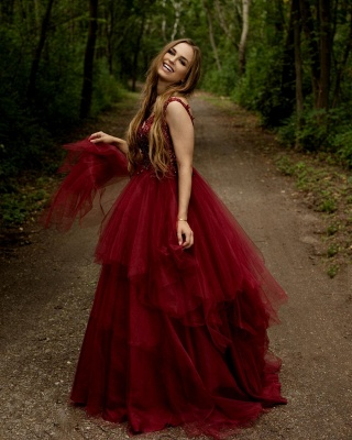Elegant V-neck Burgundy Tulle Lace Prom Dress_2