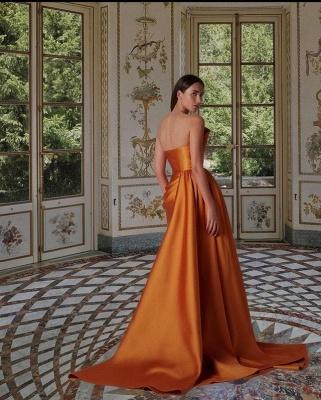 Floor Length Sleeveless Orange Prom Dresses Slim Evening Gowns_2