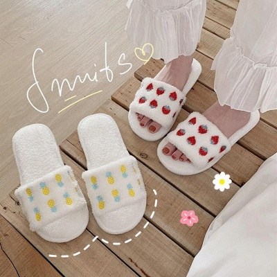 Pineapple Strawberry Pattern Fluffy Slippers_4