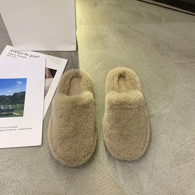 Plain Close Toe Fluffy Slippers_3